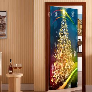 2Pcs Golden Christmas Tree Pattern Environmental Removable Door Stickers -
