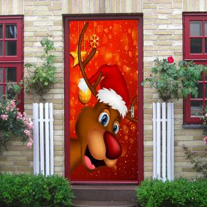 Christmas Deer with Hat Pattern Door Cover Stickers -