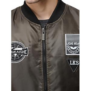 Patch Design Zip Up Pilot Jacket -