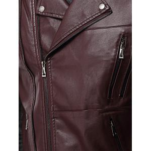 Asymmetrical Zip Epaulet Design Faux Leather Vest -