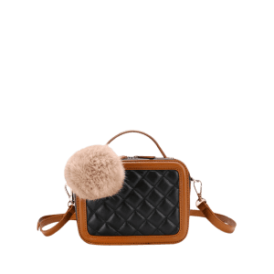 Color Block Pompom Quilted Crossbody Bag -