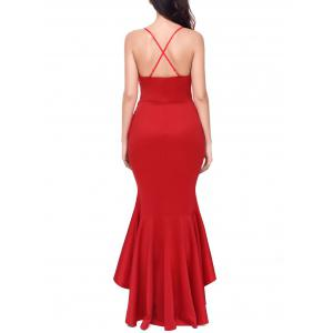Lace Panel Backless Mermaid Prom Dress -