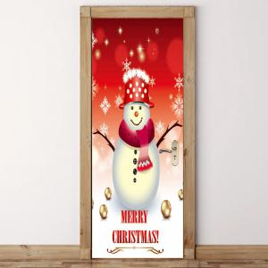 Branches of Snowman Pattern Environmental Removable Door Stickers -