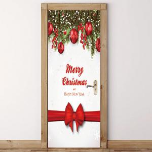 Christmas Bow Ribbon Printed Environmental Removable Door Stickers -