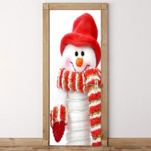 Scarf Snowman Pattern Environmental Removable Door Stickers -