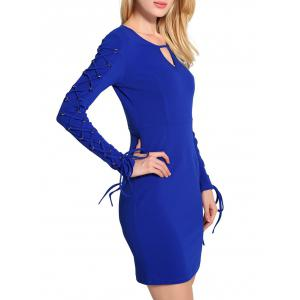 Keyhole Lace Up Mini Bodycon Dress -
