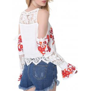Lace Insert Embroidered Cold Shoulder Blouse -