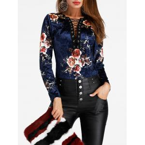 Floral Lace Up Velvet Bodysuit -