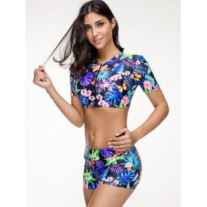 Zip Up Flower Jungle Print Swimsuit -
