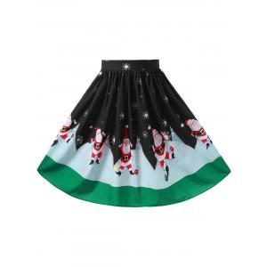 Christmas Plus Size Midi Flowy Skirt -