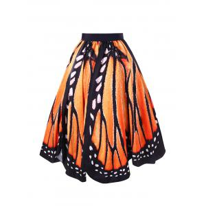 Plus Size Butterfly Graphic Swing Skirt -