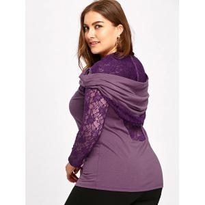 Plus Size Lace Insert Sheer Hoodie -