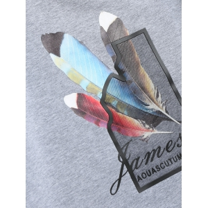 Crew Neck Feather Graphic Sweatshirt -