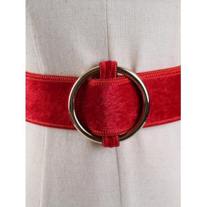 Vintage Metal Round Buckle Embellished Faux Suede Ladies Waist Belt -