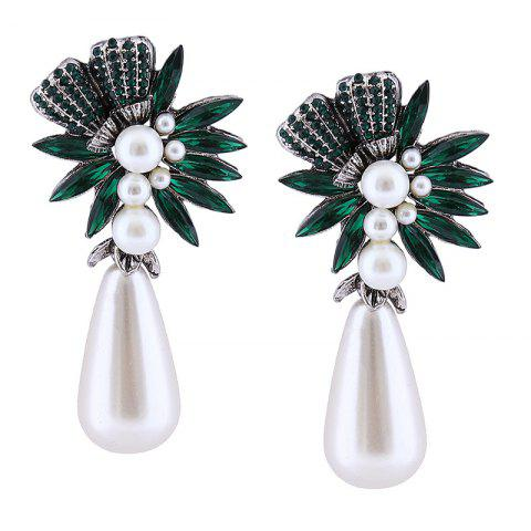 Discount Floral Water Drop Faux Pearl Drop Earrings