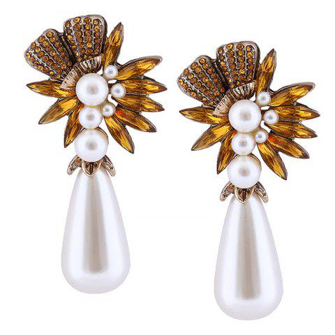 Store Floral Water Drop Faux Pearl Drop Earrings