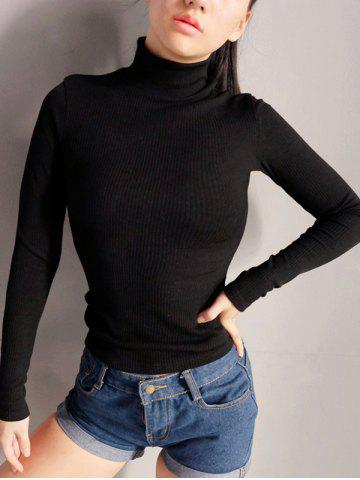 Back Cut Out Turtleneck Sweater