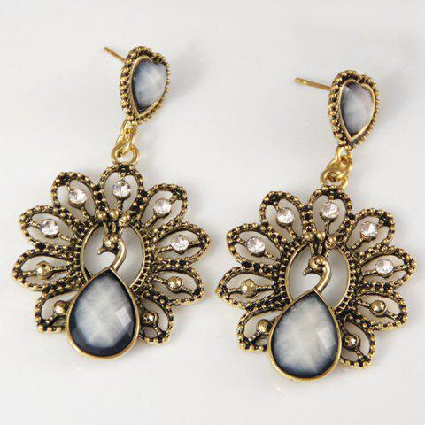 Latest Hollow Out Faux Diamond Peacock Drop Earrings
