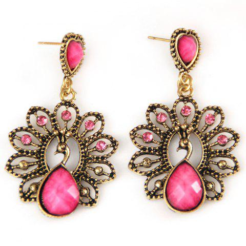 Online Hollow Out Faux Diamond Peacock Drop Earrings