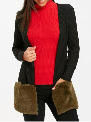 Affordable Faux Fur Open Front Tunic Cardigan
