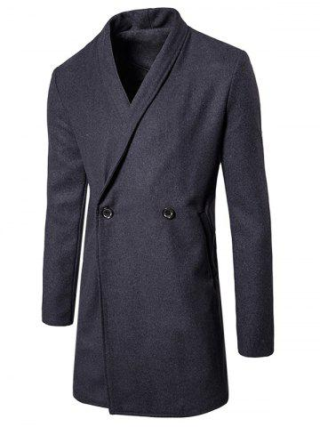 New Shawl Collar Two Button Wool Blend Coat