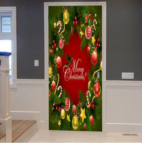 Shops Christmas Pine Ornaments Pattern Door Cover Stickers