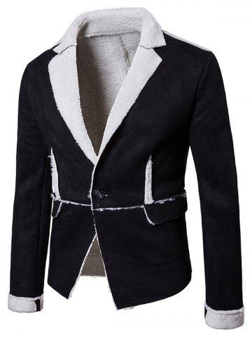 One Button Lapel Collar Suede Shearling Jacket