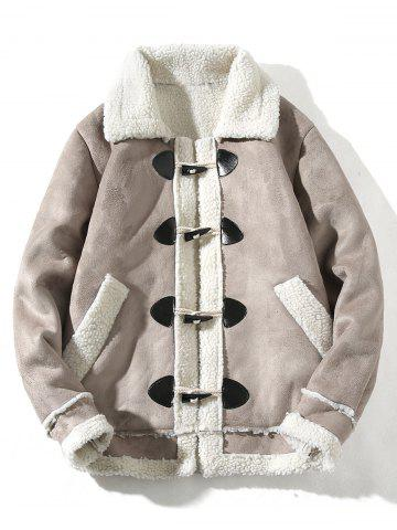 Turndown Collar Horn Button Faux Shearling Jacket