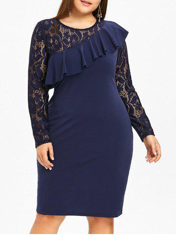 Fashion Lace Panel Ruffle Plus Size Bodycon Dress