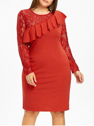 Fancy Lace Panel Ruffle Plus Size Bodycon Dress