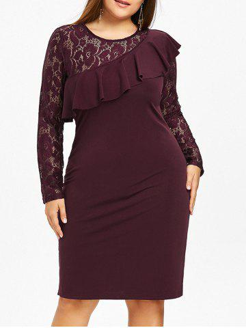 Chic Lace Panel Ruffle Plus Size Bodycon Dress