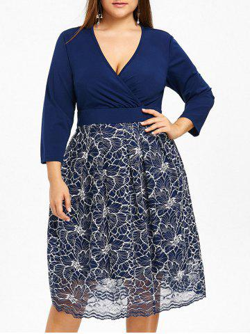Latest Plus Size Floral Lace Surplice Formal Dress
