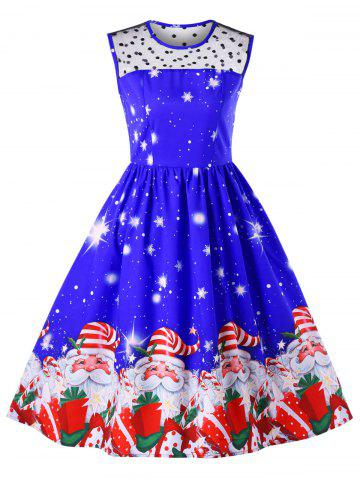 New Christmas Mesh Insert Santa Claus Print Dress