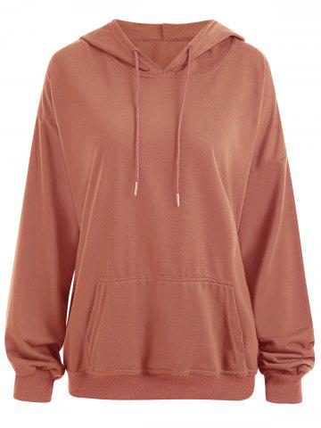 Shop Drop Shoulder Plus Size Plain Hoodie with Pocket