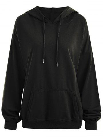 Shops Drop Shoulder Plus Size Plain Hoodie with Pocket