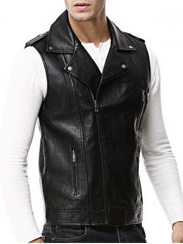 Outfit Asymmetrical Zip Epaulet Design Faux Leather Vest