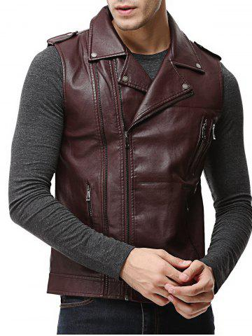 Store Asymmetrical Zip Epaulet Design Faux Leather Vest