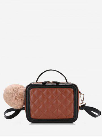 Buy Color Block Pompom Quilted Crossbody Bag