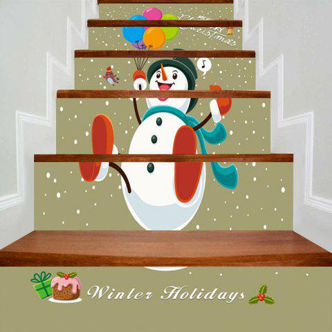 Trendy Christmas Balloons Snowman Printed Decorative Stair Stickers