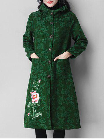 Floral Embroidery Button Coat