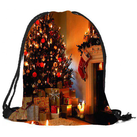 Unique Christmas Fireplace Tree Pattern Candy Bag Drawstring Backpack
