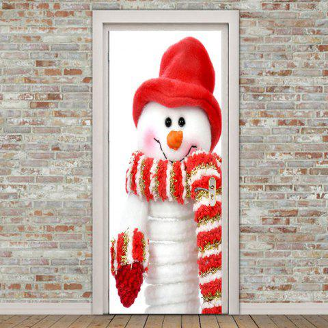 Sale Scarf Snowman Pattern Environmental Removable Door Stickers