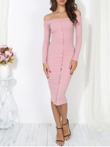 Off The Shoulder Button Up Bodycon Dress