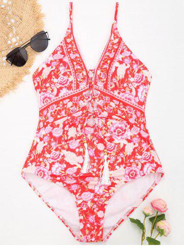 Floral Lace-up One Piece Tassel Swimsuit