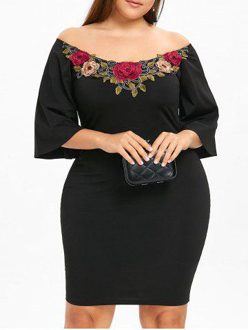 Black 3xl Plus Size Embroidery Off The Shoulder Dress Rosegal