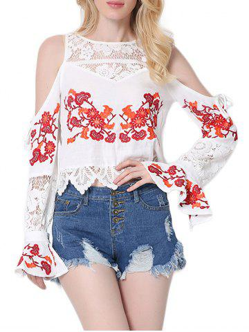 Hot Lace Insert Embroidered Cold Shoulder Blouse