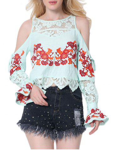 Affordable Lace Insert Embroidered Cold Shoulder Blouse