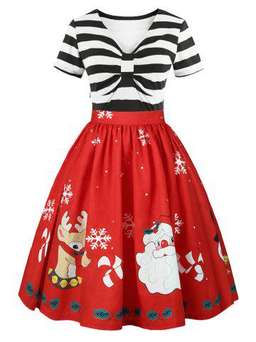Online Christmas Plus Size Panel Flared Dress