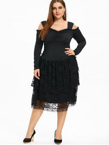 Plus Size Open Shoulder Layered Gothic Dress