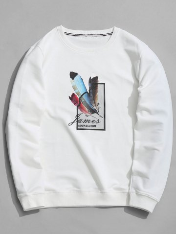 Cheap Crew Neck Feather Graphic Sweatshirt